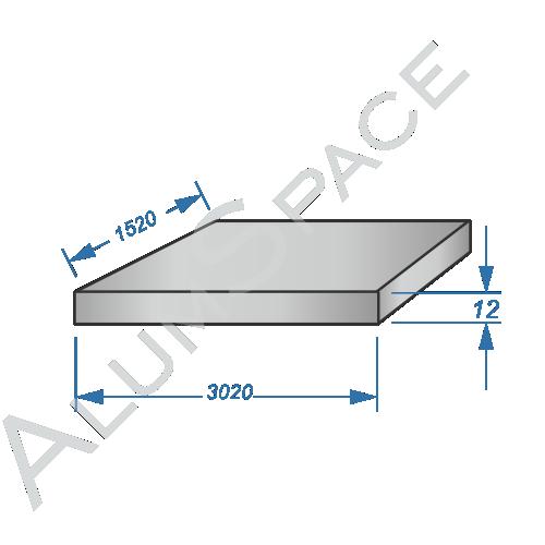 Алюминиевая плита 12,0 (1,52х3,02) 2017А Т451