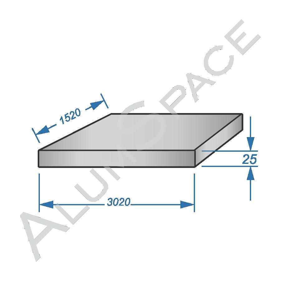 Алюминиевая плита 25 (1,52х3,02) 5083 фрез.