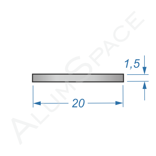 Алюминиевая полоса 20х1,5 Анод