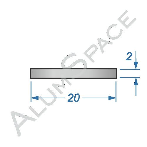 Алюминиевая полоса 20х2 Анод