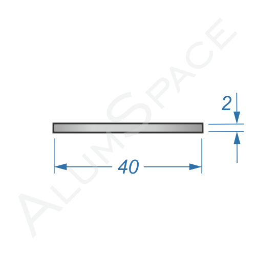 Алюминиевая полоса 40х2 Анод