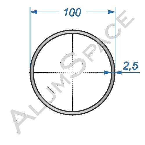 Алюминиевая труба круглая 100х2,5 Анод