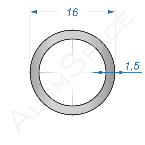 Алюминиевая труба круглая 16х1,5 Анод