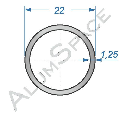 Алюминиевая труба круглая 22х1,25 Анод