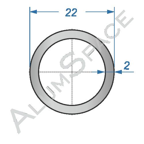 Алюминиевая труба круглая 22х2