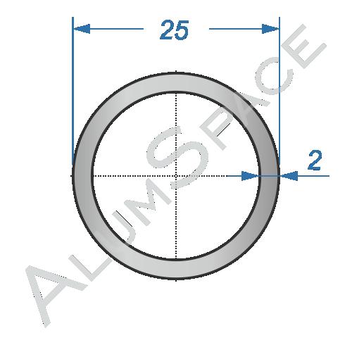 Алюминиевая труба круглая 25х2