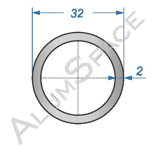 Алюминиевая труба круглая 32×2