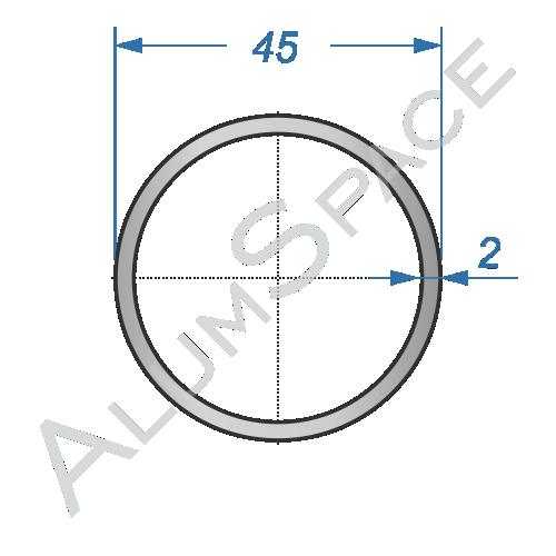 Алюминиевая труба круглая 45х2