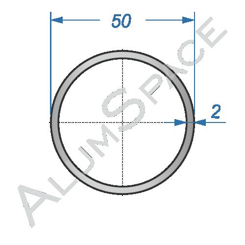 Алюминиевая труба круглая 50х2