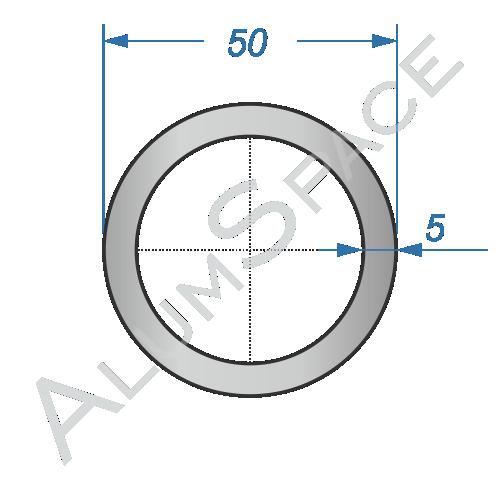 Алюминиевая труба круглая 50х5