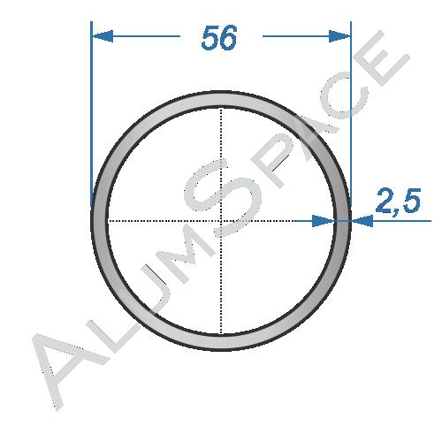 Алюминиевая труба круглая 56х2,5 Анод