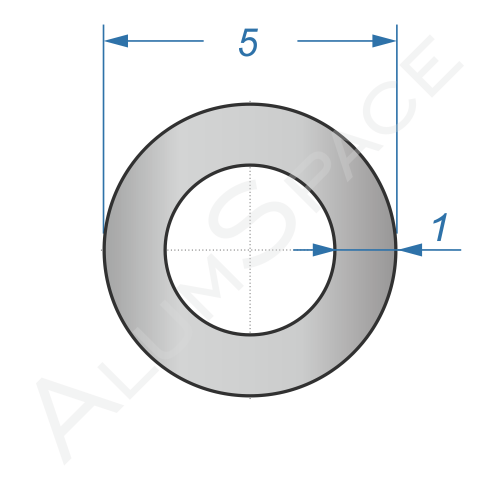 Алюминиевая труба круглая 5х1