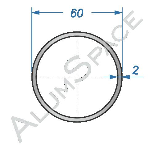 Алюминиевая труба круглая 60х2 Анод