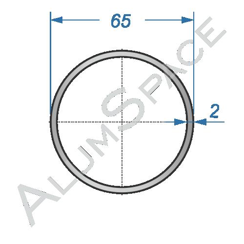 Алюминиевая труба круглая 65х2 Анод