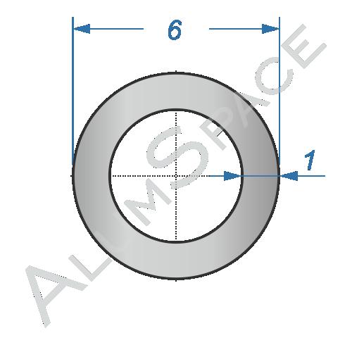 Алюминиевая труба круглая 6х1 Анод