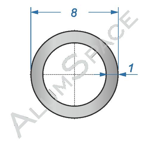 Алюминиевая труба круглая 8х1