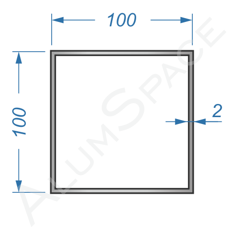 Алюминиевая труба квадратная 100х100х2