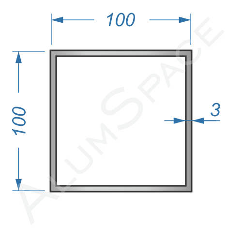 Алюминиевая труба квадратная 100х100х3