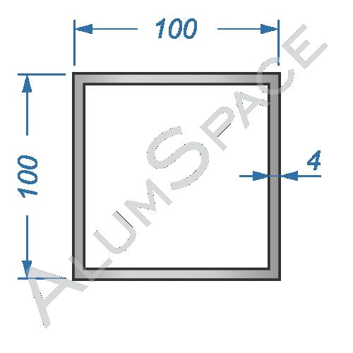 Алюминиевая труба квадратная 100х100х4