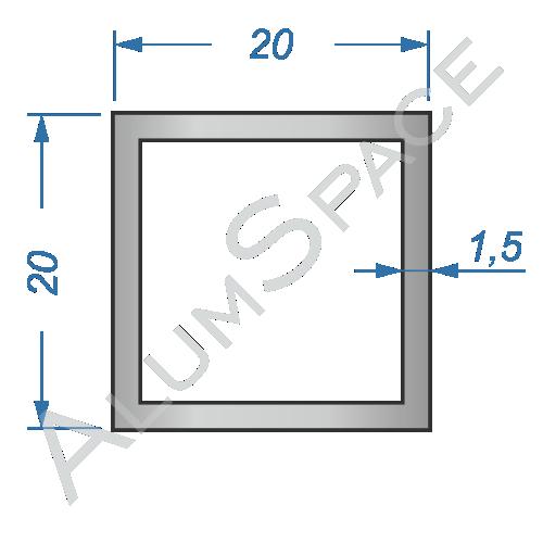 Алюминиевая труба квадратная 20х20х1,5