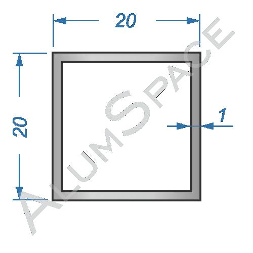 Алюминиевая труба квадратная 20х20х1
