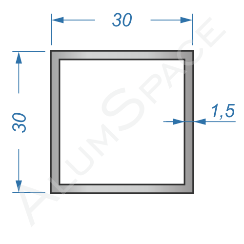 Алюминиевая труба квадратная 30х30х1,5