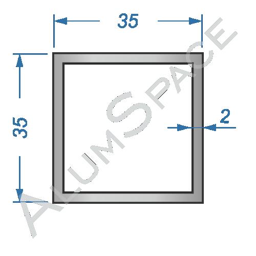 Алюминиевая труба квадратная 35х35х2