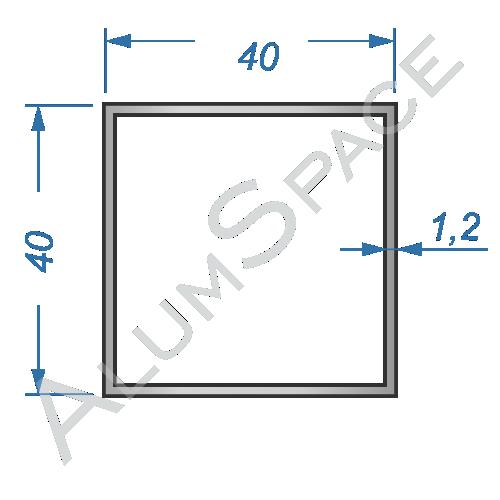 Алюминиевая труба квадратная 40х40х1.2