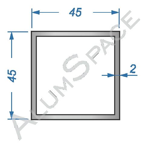 Алюминиевая труба квадратная 45х45х2,0