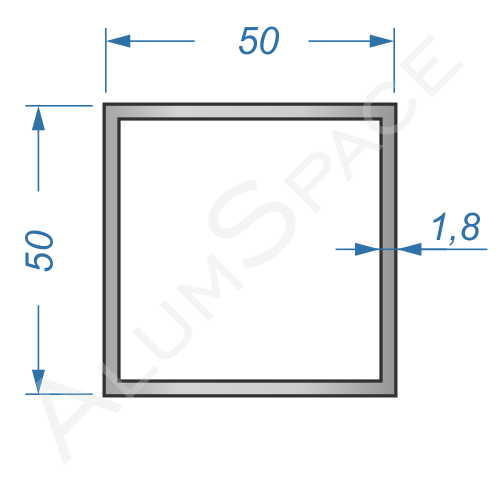 Алюминиевая труба квадратная 50х50х1,8 Анод