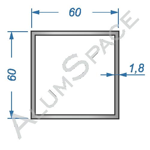 Алюминиевая труба квадратная 60х60х1.8