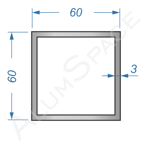 Алюминиевая труба квадратная 60х60х3