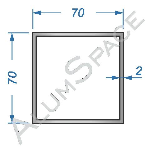 Алюминиевая труба квадратная 70х70х2