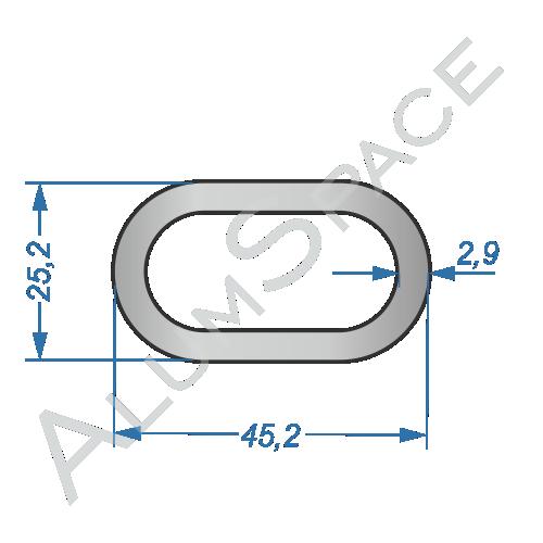 Алюминиевая труба овальная СОАС-150 25,2х45,2х2,9