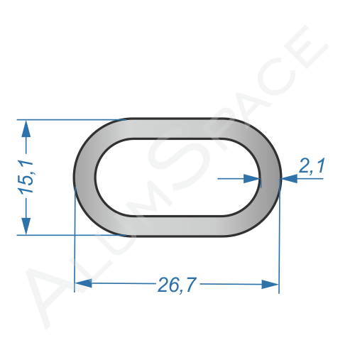 Алюминиевая труба овальная СОАС-50 15,1х26,7х2,1
