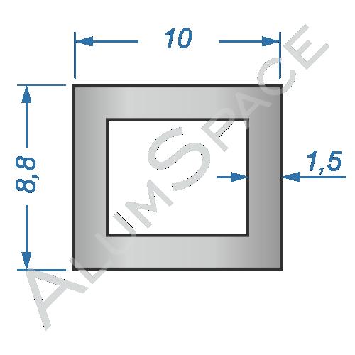 Алюминиевая труба профильная 10х8,8х1,5 Анод