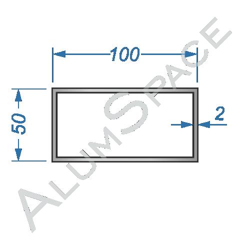 Алюминиевая труба профильная 100х50х2