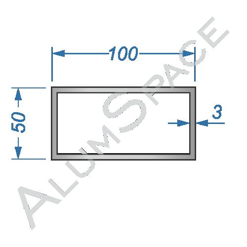 Алюминиевая труба профильная 100х50х3