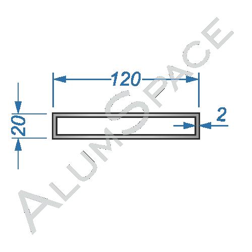 Алюминиевая труба профильная 120х20х2