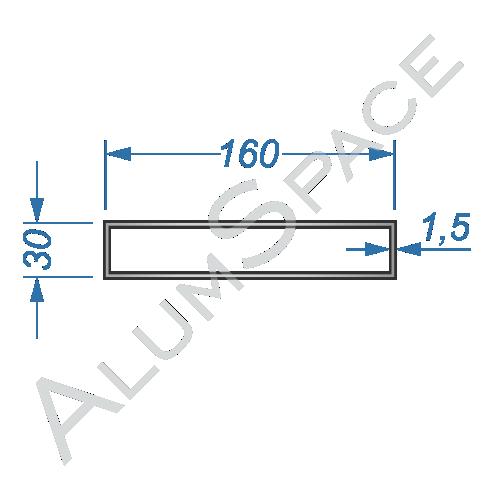 Алюминиевая труба профильная 160х30х1,5 Анод