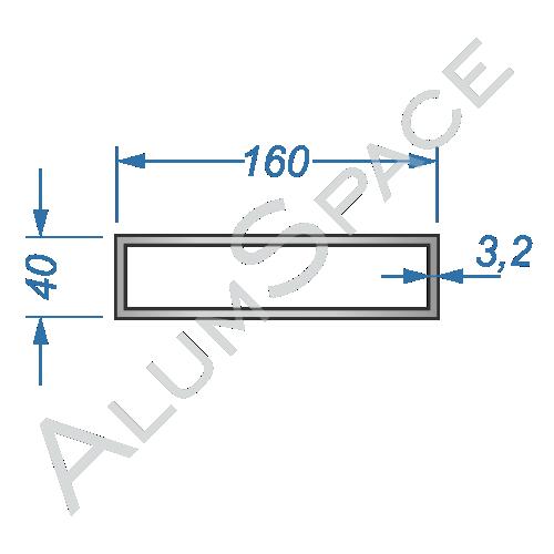 Алюминиевая труба профильная 160х40х3,2