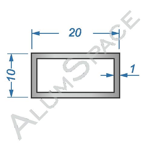 Алюминиевая труба профильная 20х10х1