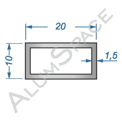 Алюминиевая труба профильная 20х10х1,5