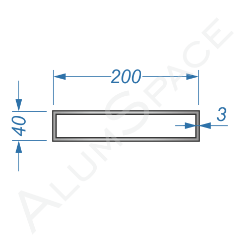 Алюминиевая труба профильная 200х40х3