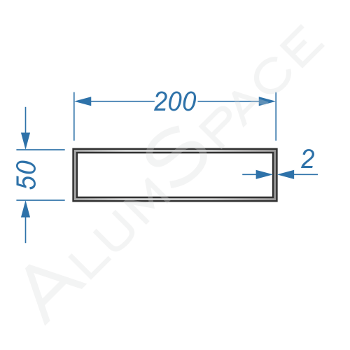 Алюминиевая труба профильная 200х50х2
