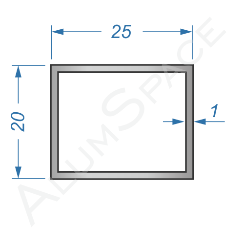 Алюминиевая труба профильная 25х20х1 Анод