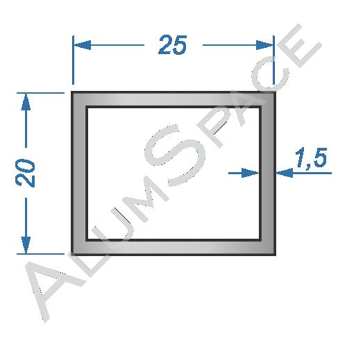 Алюминиевая труба профильная 25х20х1,5