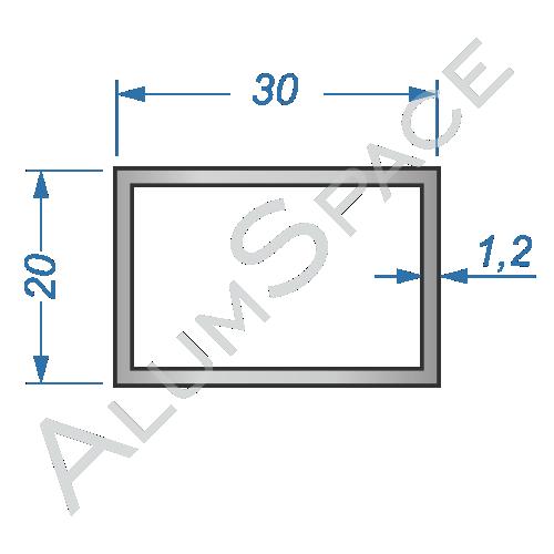 Алюминиевая труба профильная 30х20х1,2