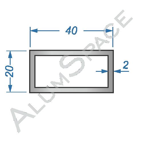 Алюминиевая труба профильная 40х20х2