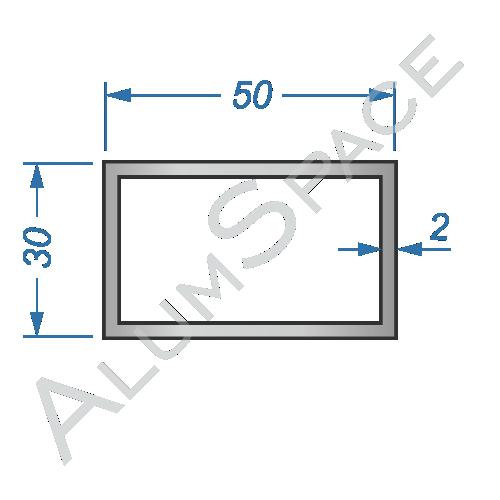 Алюминиевая труба профильная 50х30х2